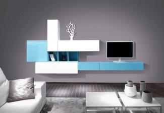 ТВ стенка белая с голубым современная на заказ