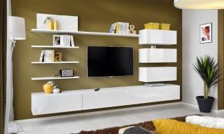 ТВ стенка подвесная белая современная на заказ