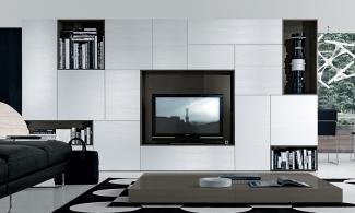 стенка-горка в гостиную под ТВ современная на заказ без ручек в Москве