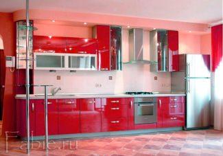 кухня из красного акрила