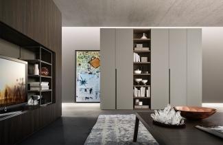 Шкаф распашной современный без ручекна заказ по индивидуальному проекту в Москве