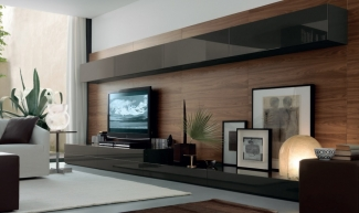ТВ стенка черная хайтек современная на заказ