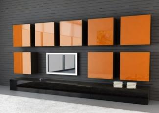 ТВ стенка черная с оранжем современная на заказ