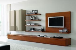 ТВ стенка в гостиную современная рыжая с белымна заказ